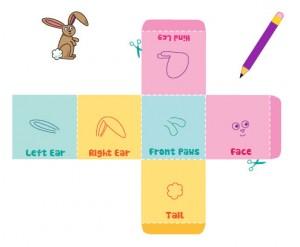 кубик для настольной игры Веселые кролики